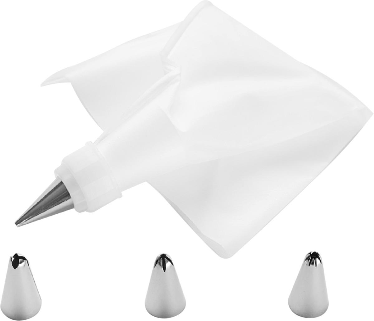 Мешок кондитерский Home Kitchen, с 4 насадками, цвет: белый мешок кондитерский с 8 насадками viva grey 1233113