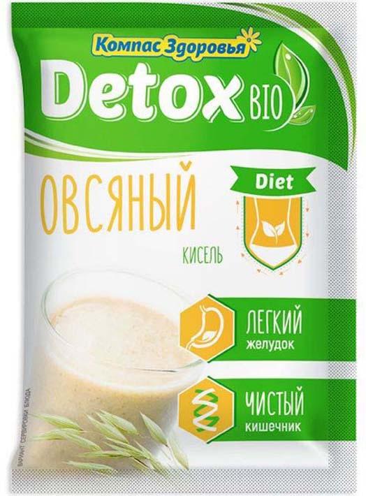 полезное утро продукт овсяный ферментированный клубника 120 г Кисель Компас Здоровья Detox Bio Diet, овсяный, 25 г