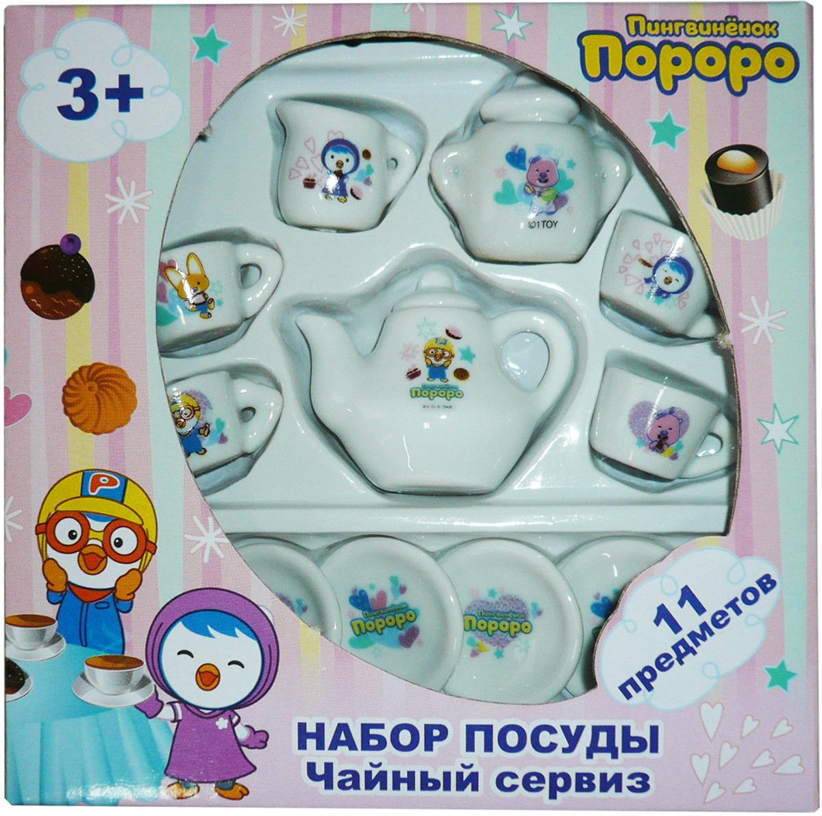 Игровой набор посуды 1TOY Пингвинёнок Пороро, 11 предметов игровой набор посуды 1toy пингвинёнок пороро 5 предметов