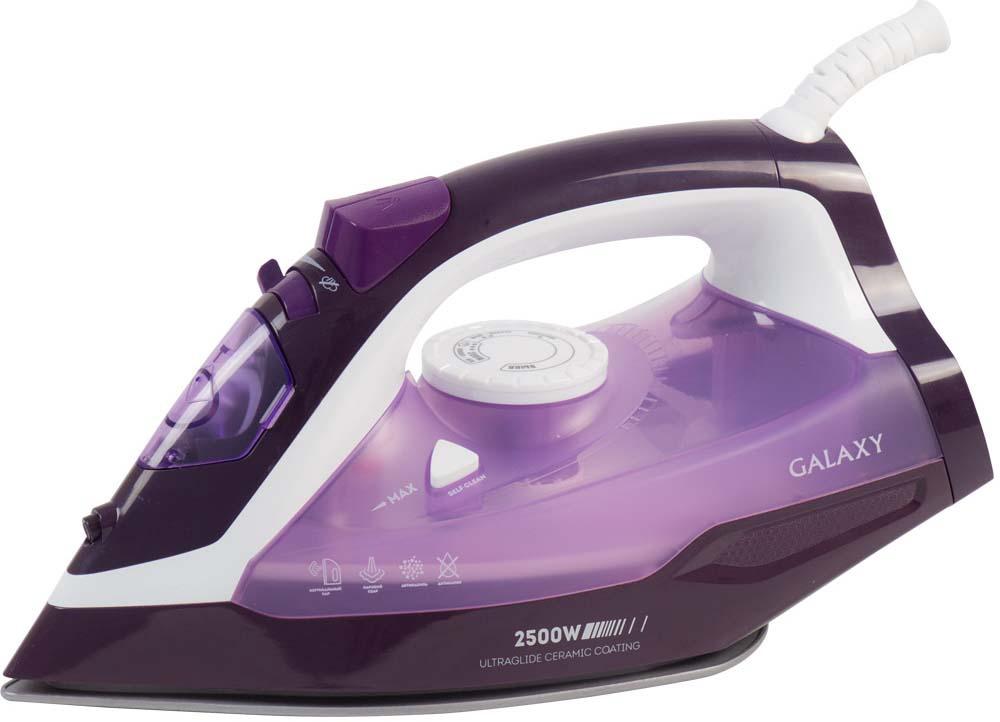 Утюг Galaxy GL 6124, цвет: белый, сиреневый, фиолетовыйгл6124Утюг Galaxy GL 6124 гарантирует эффективный и бережный уход за одеждой! Керамическое покрытие подошвы идеально скользит по ткани и обладает высочайшей надежностью и долговечностью, модель оснащена всеми новейшими функциональными возможностями. Это и система защита от накипи и самоочистки, и противокапельная система, и удобный резервуар для залива воды. Имеет вместительный резервуар до 370 мл, обладает возможностью вертикального отпаривания, парового удара, и сухой глажки. Мощный и функциональный отпариватель профессионально разгладит складки и дезенфицирует даже самые деликатные ткани. Уплотнитель крышки резервуара Указатель максимального уровня воды Индикатор нагрева Функция увлажнения Защита от перегрева Мерный стакан Напряжение сети, В: 220-240 Частота, Гц: 50