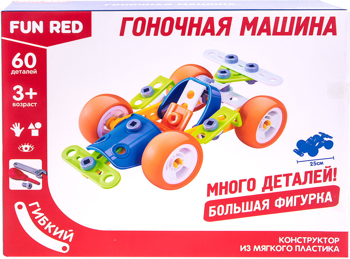 Конструктор Fun Red Гоночная машина, 60 деталей конструктор серии рыцари 220 деталей