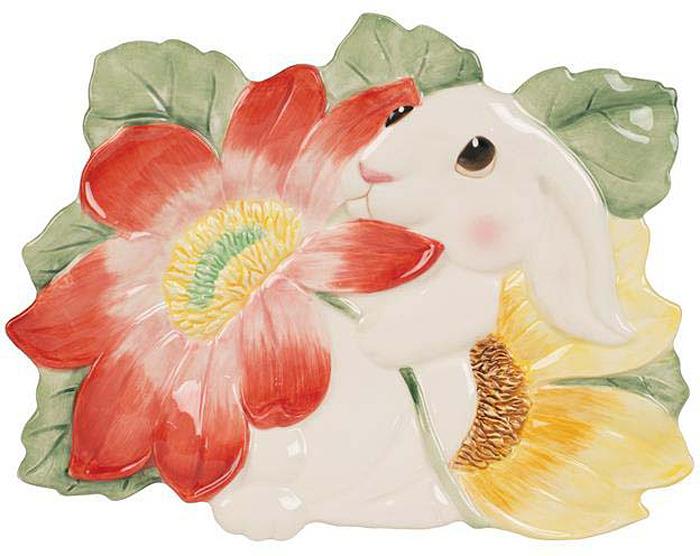 Блюдо Fitz and Floyd Блюдо для пирожных Кролики в цветах, Керамика