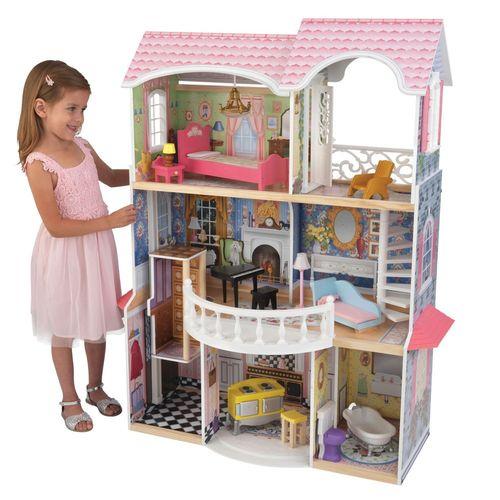 Дом для кукол KidKraft Магнолия, деревянный, с мебелью65839_KEДомик рекомендован для девочек 3-10 лет Игрушка полностью деревянная Дом частично открытый (задняя стенка глухая) Предназначен для кукол высотой 25-30 см, по стилю идеален для коллекционных Barbie, Sonya Rose, Ever After High Высота кукольного дома в собранном виде: 117 см. Вес: 15 кг В комплекте: 13 аксессуаров мебели и интерьера Упаковка: картонная коробка Особенность: мебель в ретро-стиле, большие балкон и терраса придают домику Магнолия нежный винтажный образ, однако же мебель и присутствие лифта не даст усомниться в современности и актуальности данной игрушки.