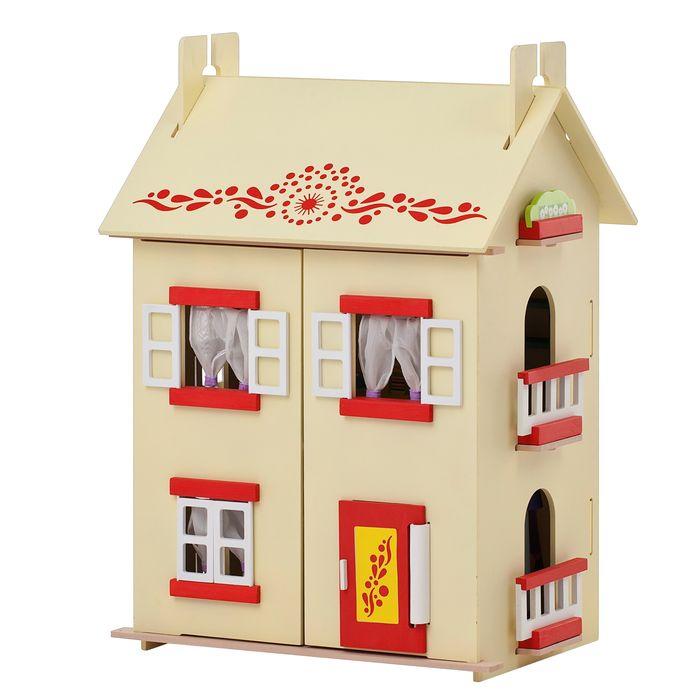 Дом для кукол PAREMO София, деревянный, с мебелью кукольный домик вдохновение для кукол до 30 см 16 предметов мебели 2 лестницы