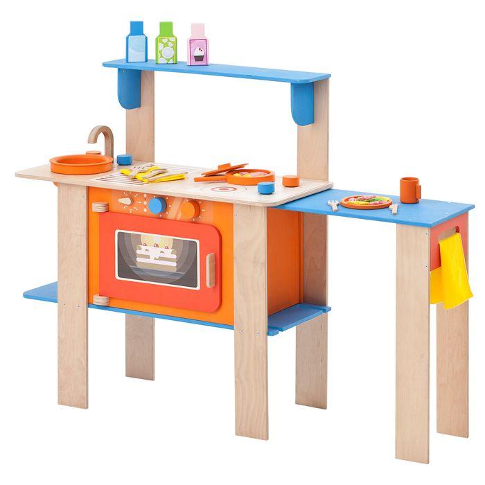 Кухня-трансформер для детей PAREMO Гавайский микс, деревянная, с аксессуарами