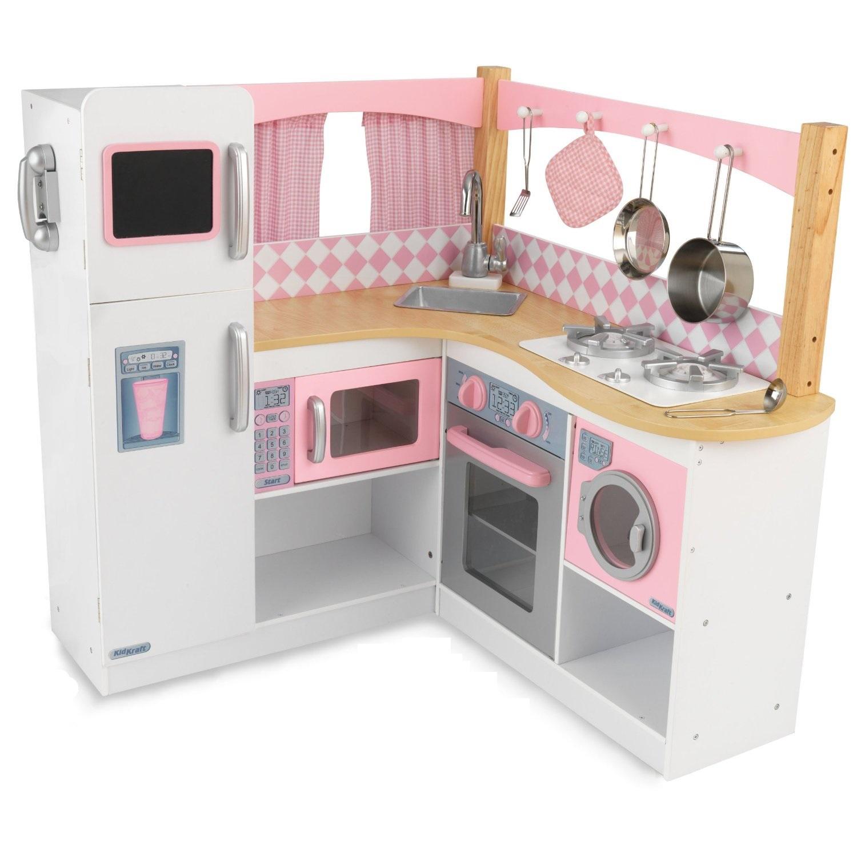 Фото - Большая детская кухня из дерева для девочек Изысканный уголок (Grand Gourmet Corner Kitchen) детская кухня kidkraft деревянная кухня для мальчиков и девочек аптаун uptown white kitchen [53364 ke]