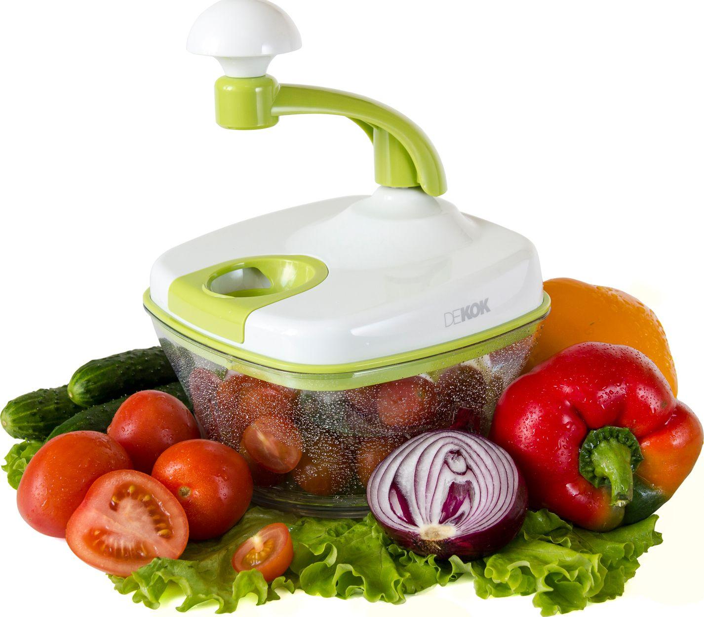 Фото - Фрукто-овощерезка Dekok многофункциональный кухонный процессор, белый, салатовый фрукто овощерезка augustin welz многофункциональный кухонный процессор белый фиолетовый