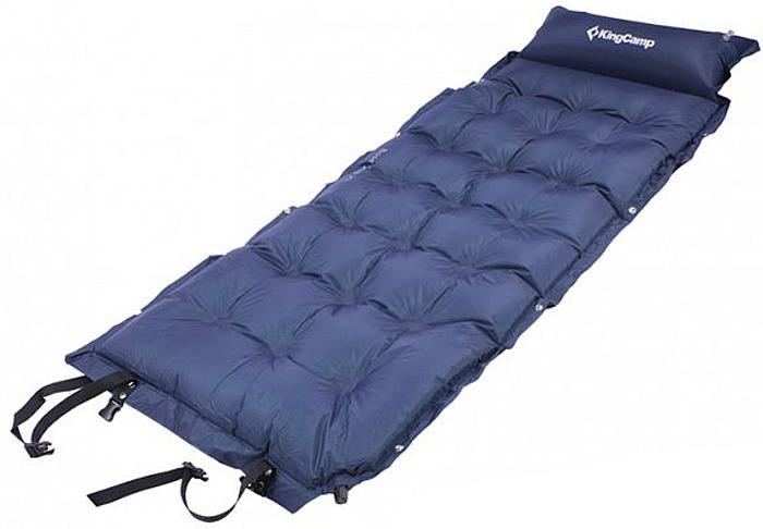 Коврик самонадувающийся KingCamp Base Camp XL, цвет: синий, 196 x 63 x 3 см коврик туристический самонадувающийся двуспальный larsen camp ht012