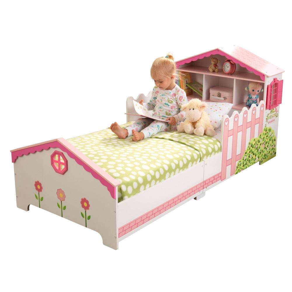 Детская кровать Кукольный домик с полочками цена