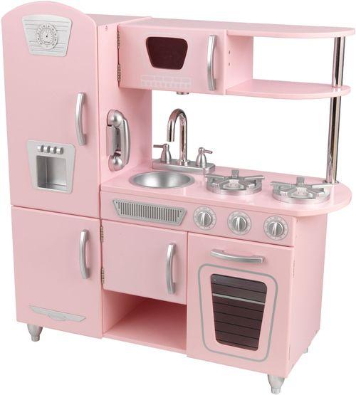 Кухня детская из дерева Винтаж, цвет Розовый (Pink Vintage Kitchen)