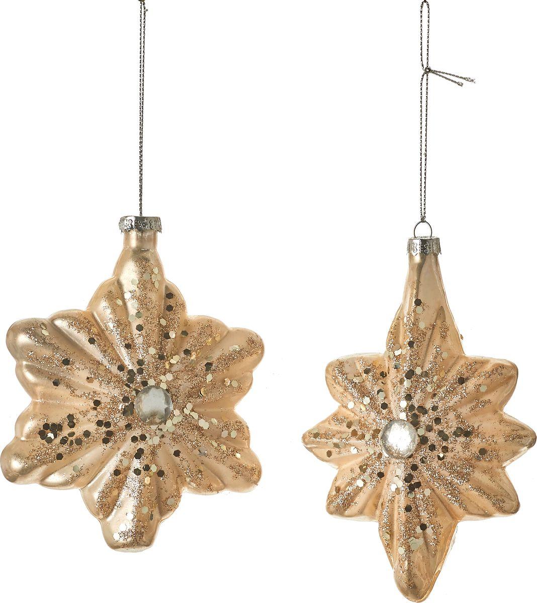 "Набор новогодних декоративных украшений House of Seasons ""Лист"", цвет: коричневый, 13 х 10 х 4 см, 2 шт"