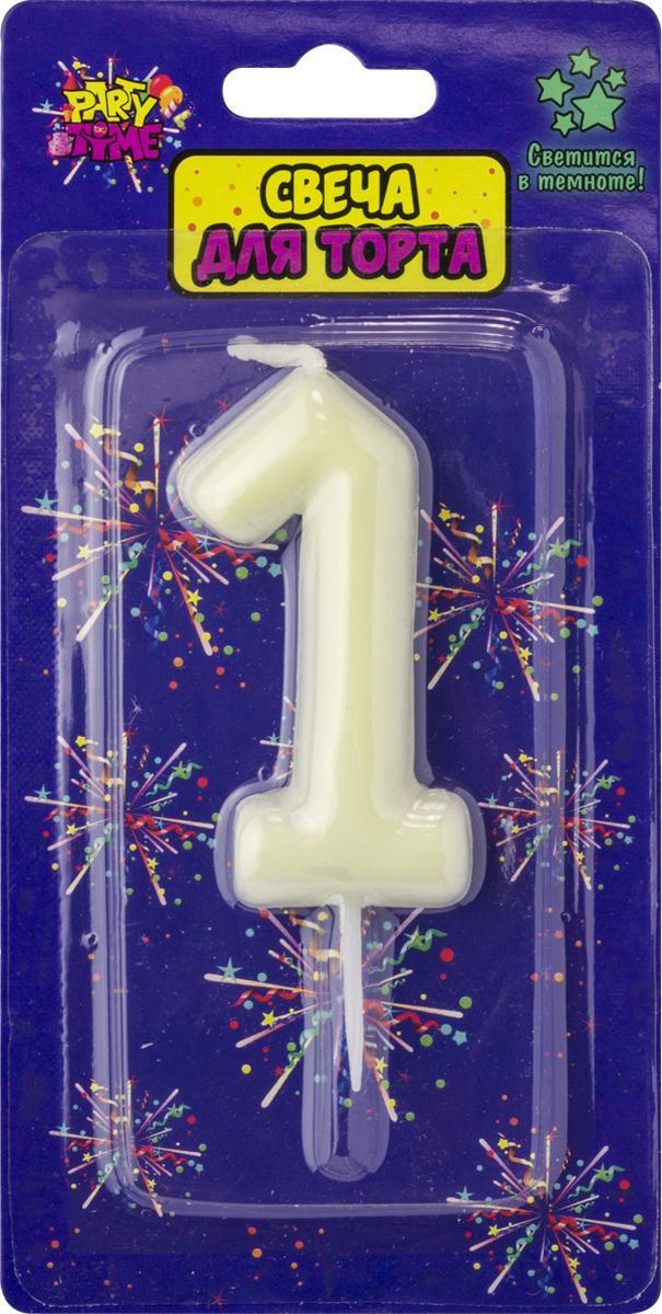 Свеча для торта Action! Party. Цифра 1 флюоресцентная свеча цифра 6 см с держателем 2 5 см 1