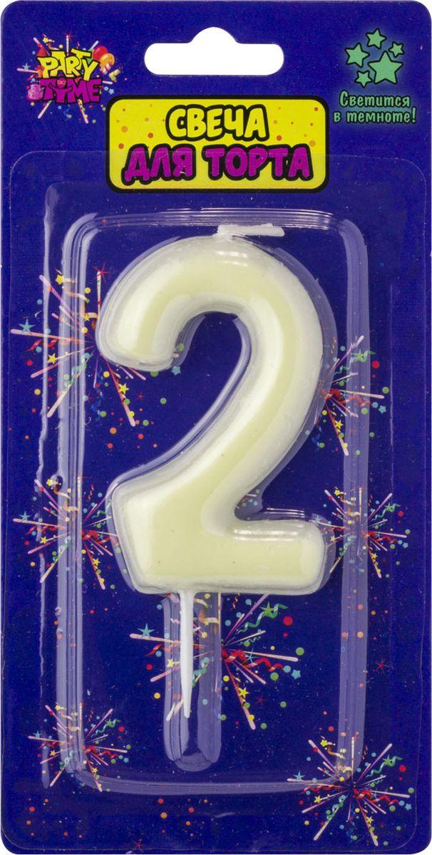 Свеча для торта Action! Party. Цифра 2 флюоресцентная свеча цифра 6 см с держателем 2 5 см 1