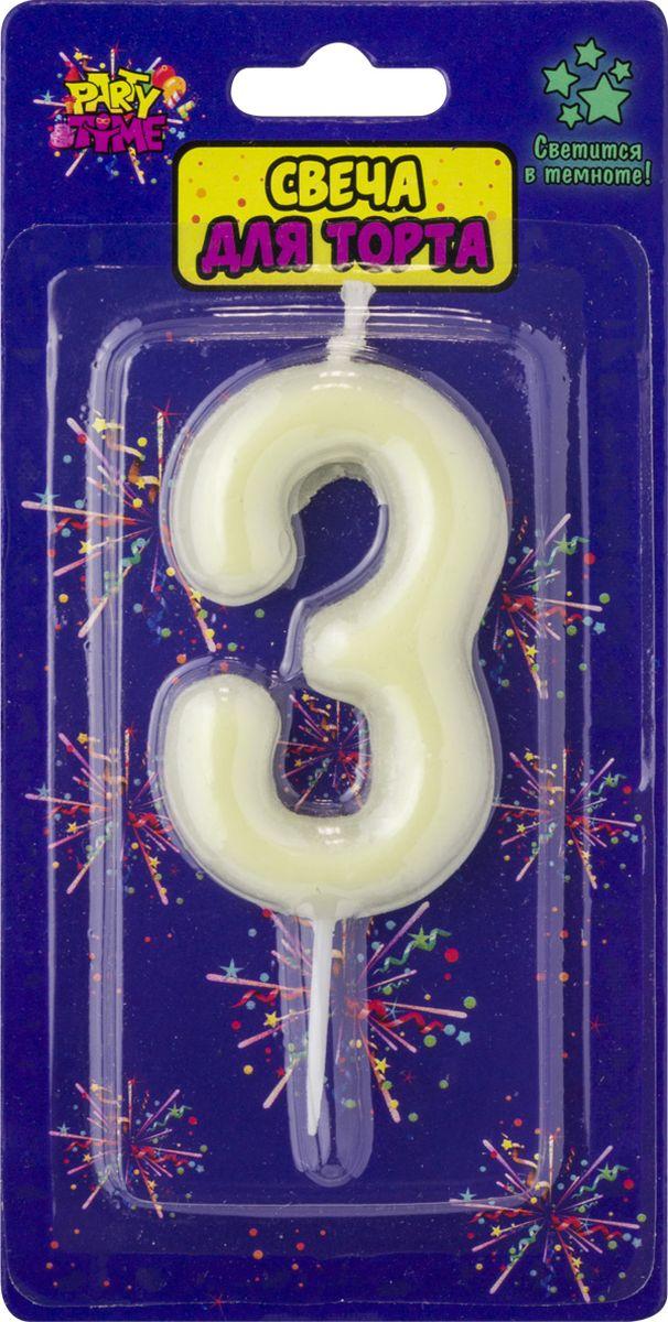 Свеча для торта Action! Party. Цифра 3 флюоресцентная свеча цифра 6 см с держателем 2 5 см 1