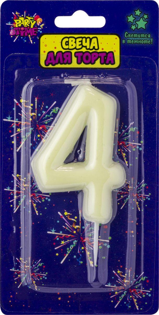 Свеча для торта Action! Party. Цифра 4 флюоресцентная свеча цифра 6 см с держателем 2 5 см 1