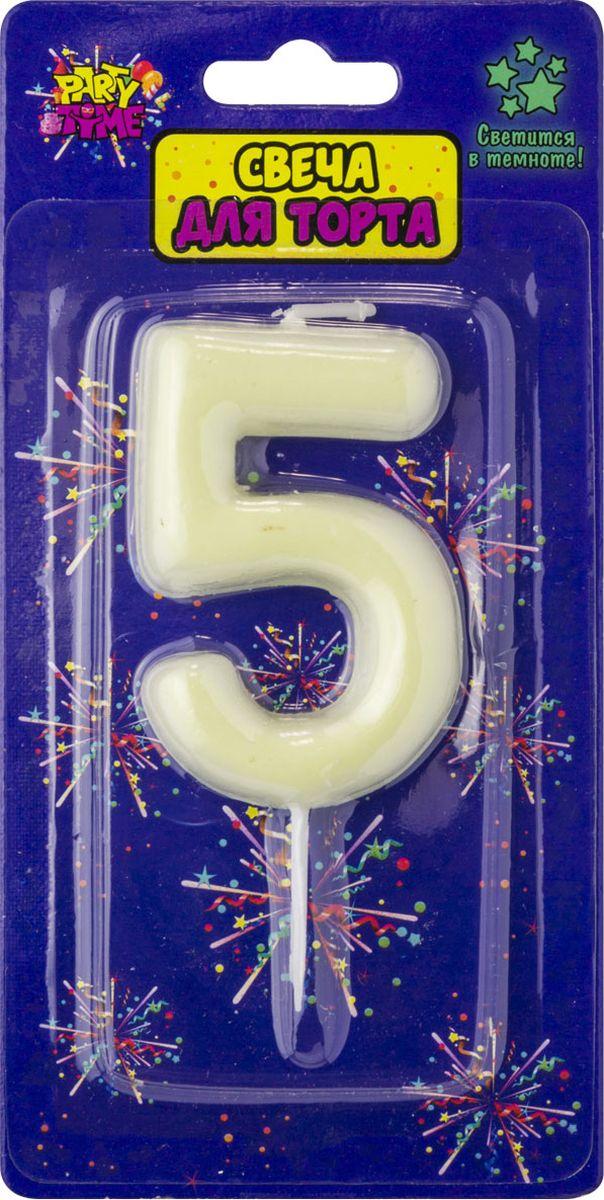 Свеча для торта Action! Party. Цифра 5 флюоресцентная свеча цифра 6 см с держателем 2 5 см 1