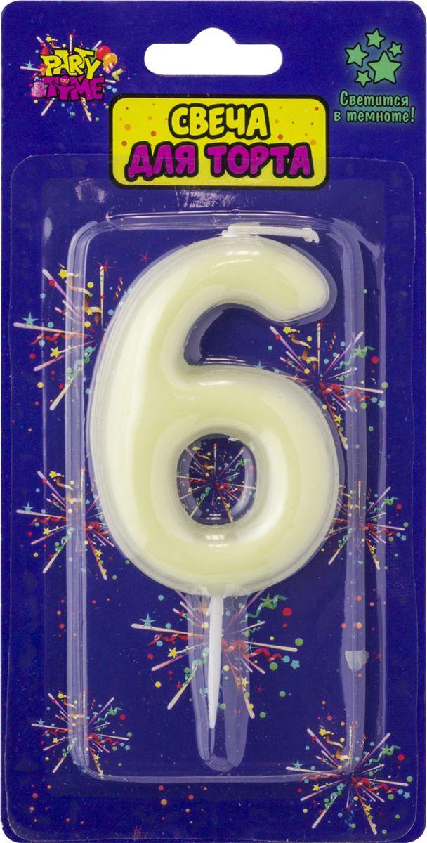 Свеча для торта Action! Party. Цифра 6 флюоресцентная свеча цифра 6 см с держателем 2 5 см 1