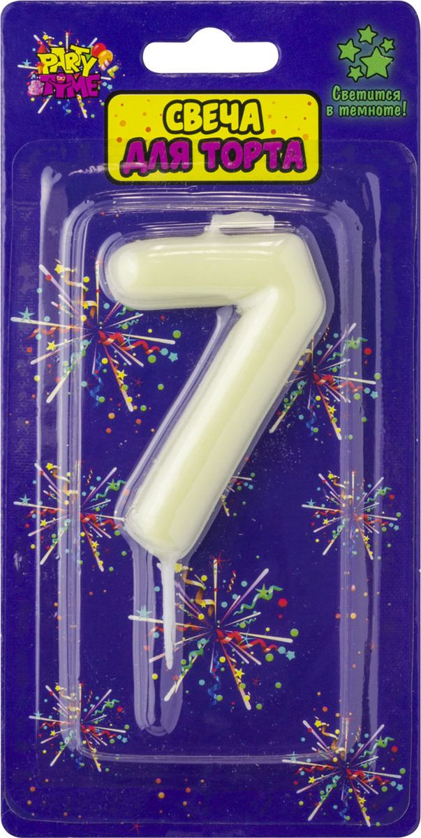 Свеча для торта Action! Party. Цифра 7 флюоресцентная свеча цифра 6 см с держателем 2 5 см 1