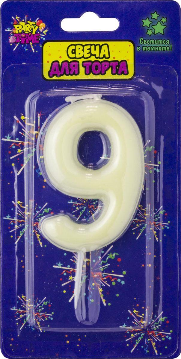 Свеча для торта Action! Party. Цифра 9 флюоресцентная свеча цифра 6 см с держателем 2 5 см 1