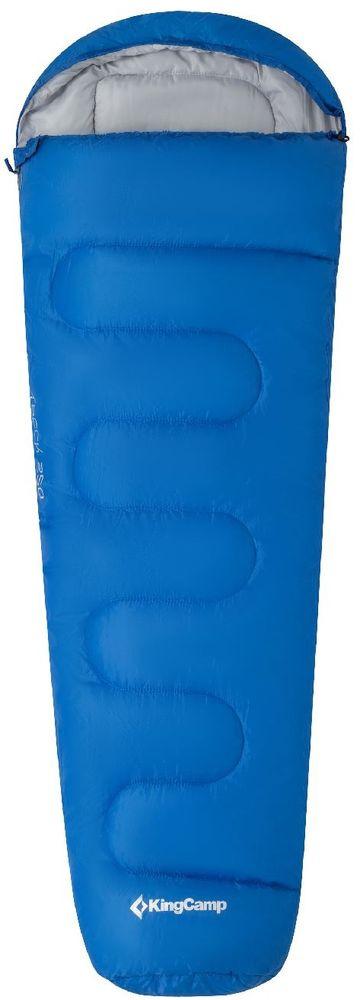 Спальный мешок-кокон KingCamp Treck 300, левосторонняя молния, цвет: синий спальный мешок kingcamp treck 300 ks3131 правосторонняя молния цвет серый