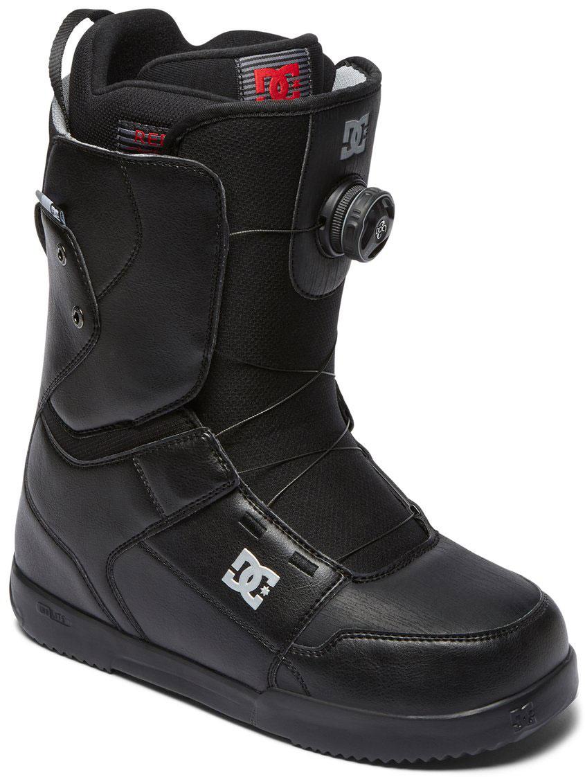 Ботинки для сноуборда DC ShoesADYO100032-BLK_8DБотинки DC Scout оснащены системой быстрой шнуровкой Boa Coiler, которая позволяет быстро затянуть ботинки, даже не снимая перчаток. Внутренник Red Liner выполнен из вспененного материала, который не только отлично сохраняет тепло, но и запоминает форму стопы, обеспечивая высокий уровень комфорта.