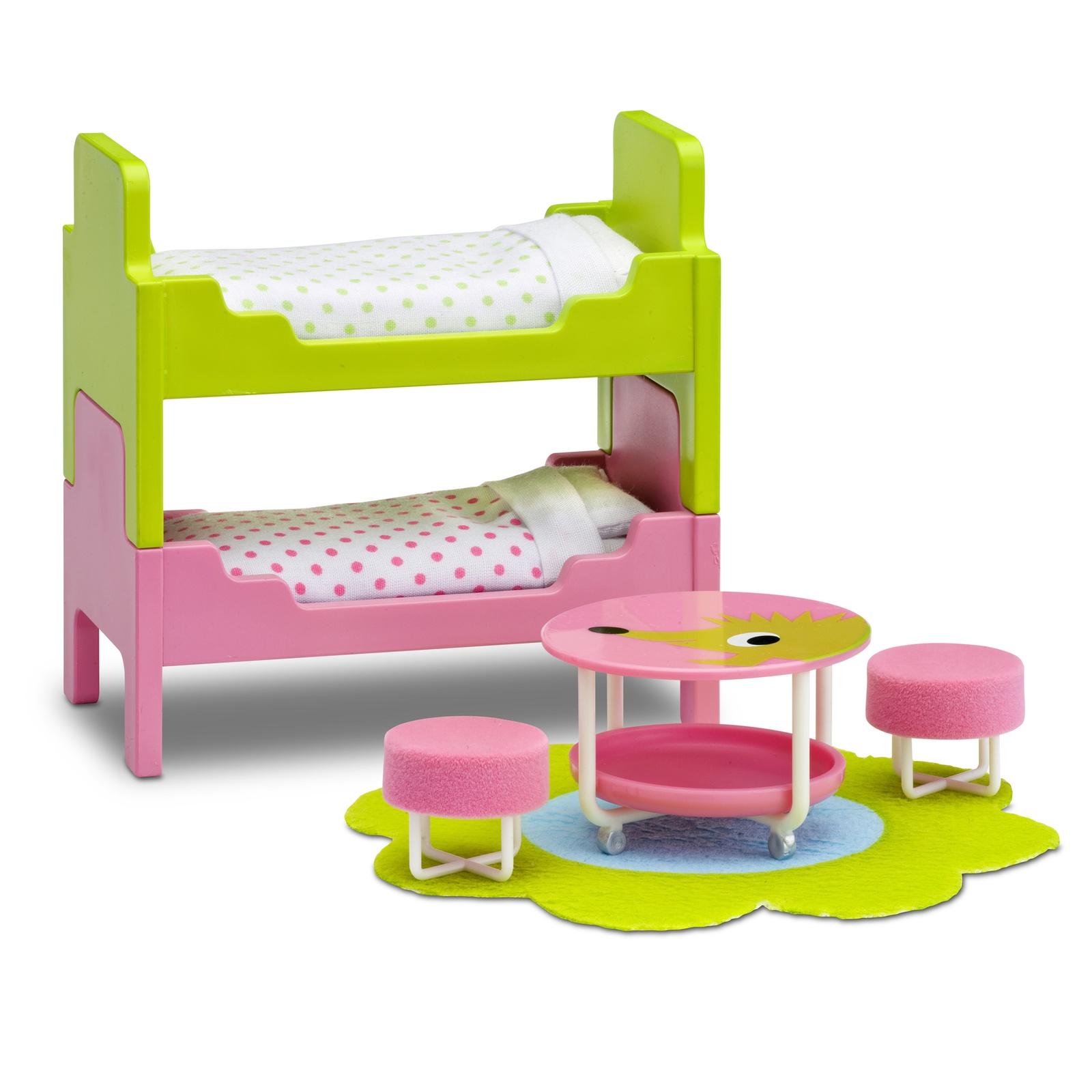 Фото - Мебель для домика Lundby Смоланд, детская с 2 кроватями аксессуары для домика lundby смоланд батут с машинкой