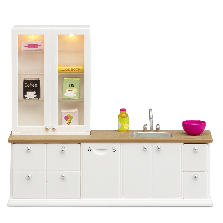 Мебель для домика Lundby Смоланд, кухонный набор с буфетом кукольная мебель lundby смоланд обеденный уголок lb 60209600