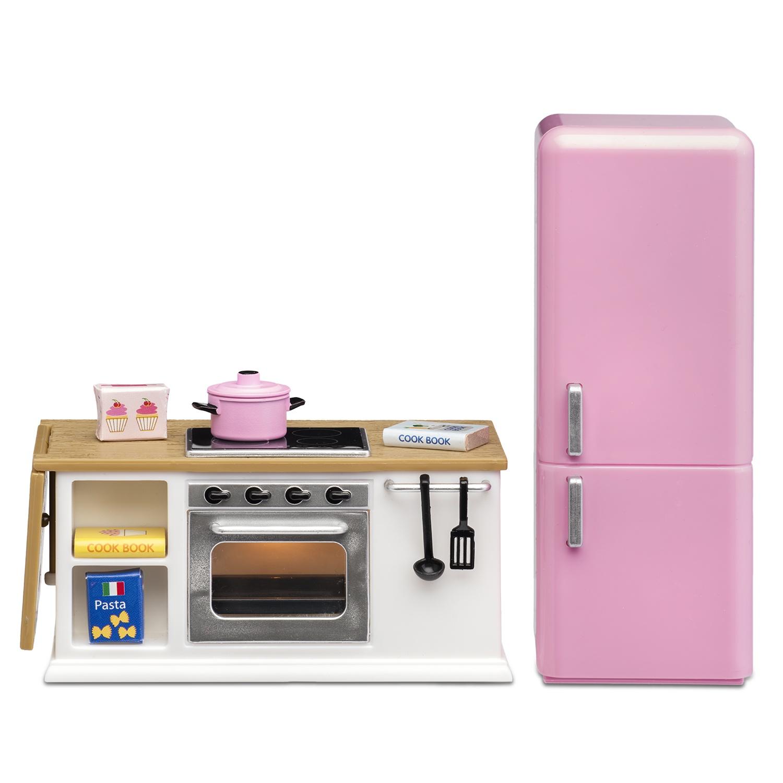 Мебель для домика Lundby Смоланд, кухонный набор с холодильником мастеровой с кухонная утварь и техника