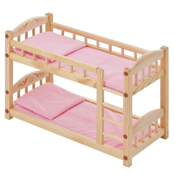 кроватки для кукол Мебель для кукол PAREMO, двухъярусная кроватка из дерева, розовый текстиль