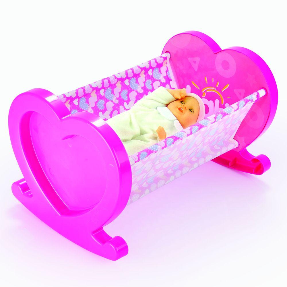Мебель для кукол Dolu, люлька и игрушка-пупс, цвет:розовый,белый
