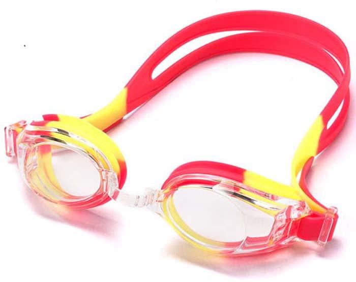 цена на Очки для плавания Larsen DR-G102, детские, цвет: розовый, желтый