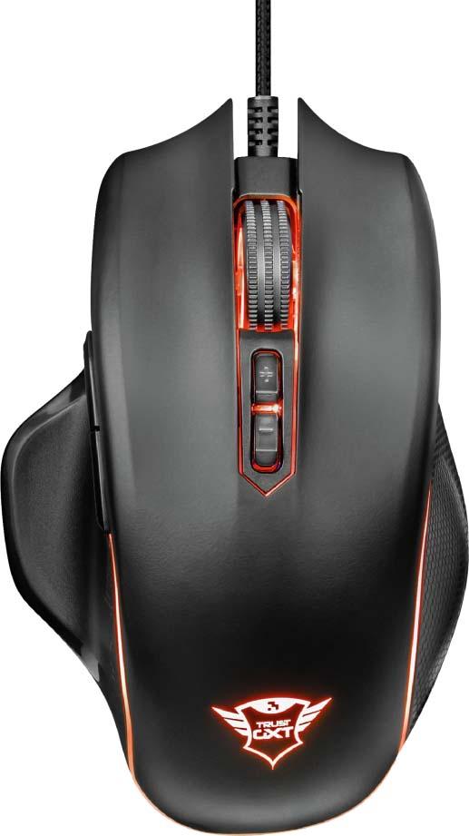 Игровая мышь Trust GXT 168 Haze, проводная, цвет: черный, серый