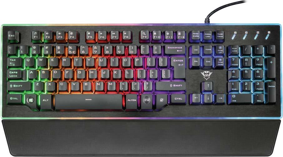 Клавиатура Trust GXT 860 Thura , цвет: черный, серый