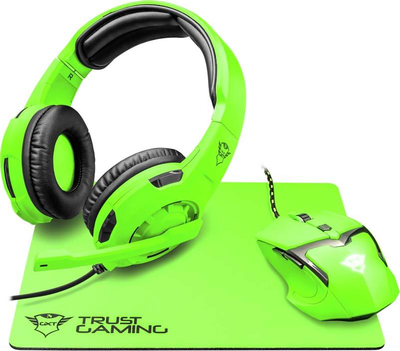 Комплект игровая мышь + клавиатура Trust GXT790-SB Spectra, цвет: черный, зеленый комплект игровая мышь гарнитура коврик для мыши trust gxt790 sb spectra цвет черный синий