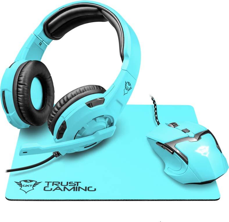 Комплект игровая мышь + гарнитура + коврик для мыши Trust GXT790-SB Spectra, цвет: черный, синий комплект игровая мышь гарнитура коврик для мыши trust gxt790 sb spectra цвет черный синий