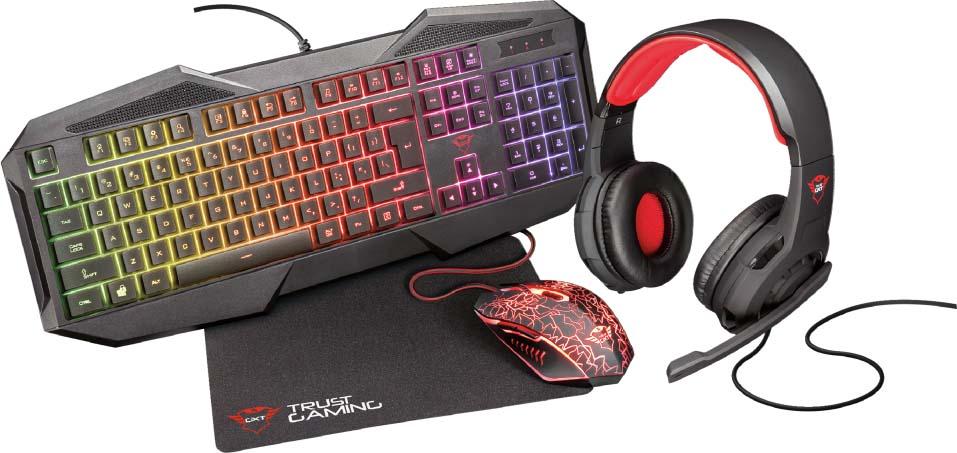 Комплект игровая мышь + клавиатура Trust GXT 788RW 4-IN-1 , цвет: черный, серый цена 2017