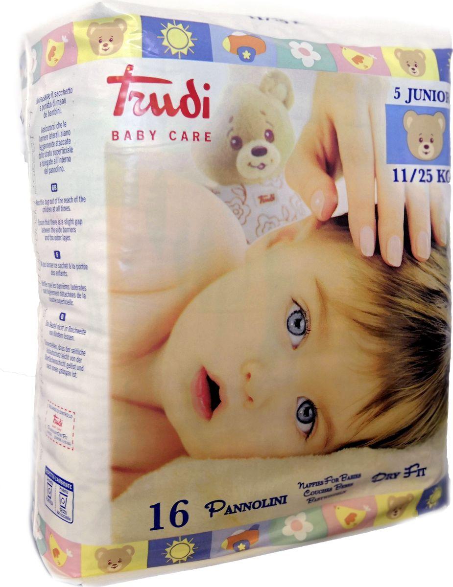 Подгузники Trudi, размер Junior, от 11 до 25 кг, 16 шт аксессуары для детской комнаты baby expert полка вешалка abbracci by trudi