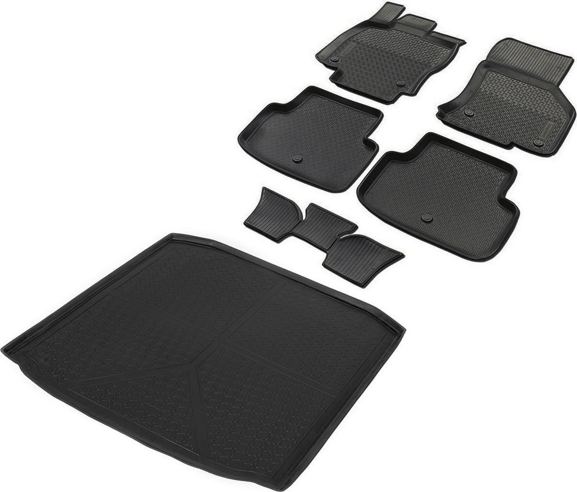 Комплект ковриков салона и багажника Rival для Skoda Octavia A7 универсал 2013-2017 2017-н.в., полиуретан, с крепежом, с перемычкой, 6 шт. K15101001-5 комплект ковриков салона и багажника rival для skoda octavia a7 2013 н в полиуретан k15101001 4