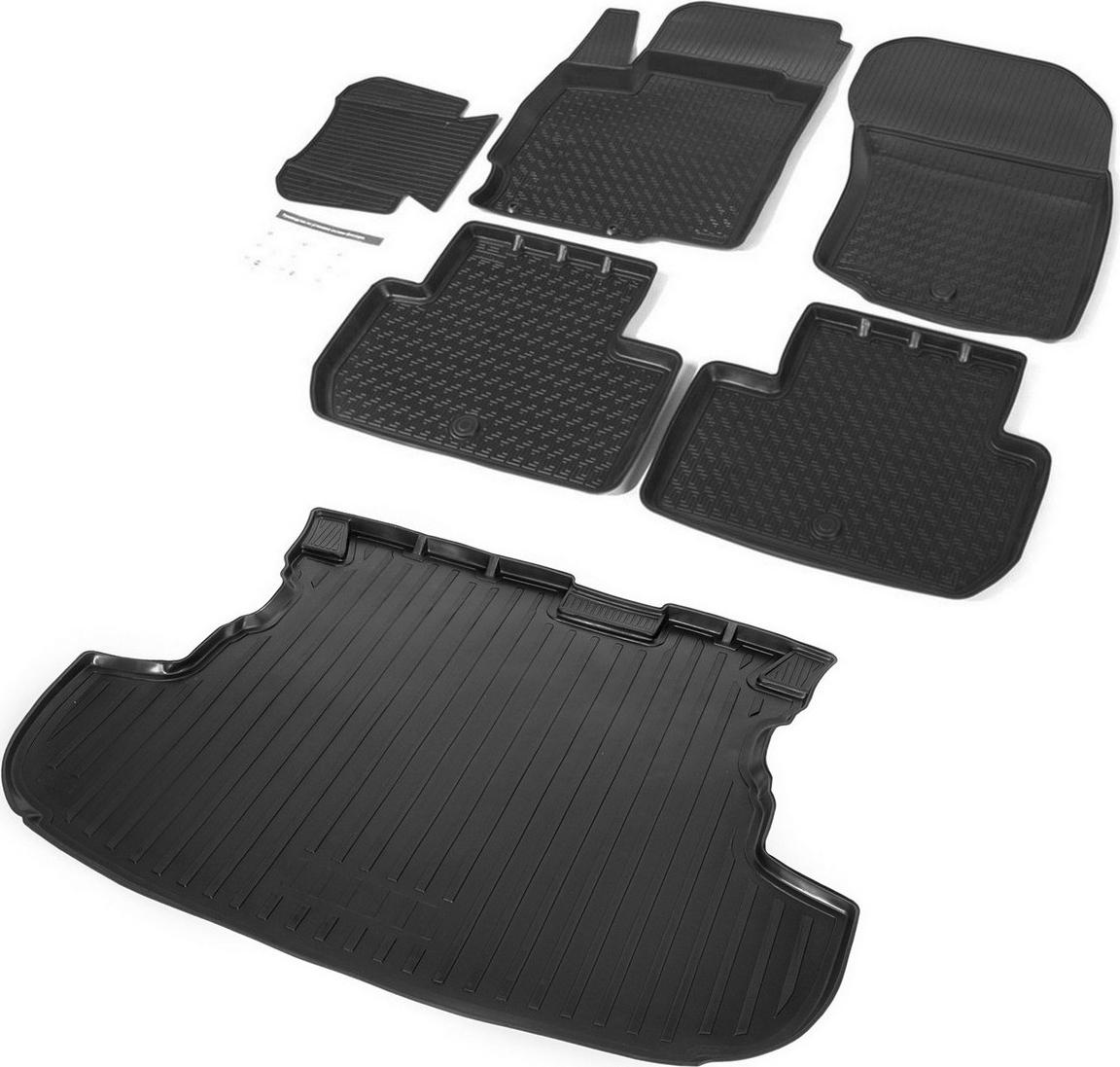 Комплект ковриков салона и багажника Rival для Mitsubishi Outlander (без органайзера) 2012-н.в., полиуретан. K14002002-4K14002002-4Прочные и долговечные коврики Rival изготовлены из высококачественного и экологичного сырья, из первичных материалов, в результате чего отсутствует неприятный запах в салоне автомобиля. Обладают высокой эластичностью, их можно беспрепятственно эксплуатировать при температуре от -45°C до +45°C.Особенности ковриков салона:- Коврики полностью повторяют геометрию салона вашего автомобиля.- Надежная система крепления, позволяющая закрепить коврик на штатные элементы фиксации, в результате чего отсутствует эффект скольжения по салону автомобиля.- Высокая стойкость поверхности к стиранию.- Специализированный рисунок и высокий борт, препятствующие распространению грязи и жидкости по поверхности коврика.- Перемычка задних ковриков в комплекте предотвращает загрязнение тоннеля карданного вала.Особенности коврика багажника:- Коврик багажника позволяет надежно защитить и сохранить от грязи багажный отсек вашего автомобиля на протяжении всего срока эксплуатации, полностью повторяют геометрию багажника.- Высокий борт специальной конструкции препятствует попаданию разлитой жидкости и грязи на внутреннюю отделку.- Рисунок обеспечивает противоскользящую поверхность, благодаря которой перевозимые предметы не перекатываются в багажном отделении, а остаются на своих местах.- Коврик изготовлен из высококачественного и экологичного материала, не подверженного воздействию кислот, щелочей и нефтепродуктов. Состав комплекта:Коврики салона Rival для Mitsubishi Outlander 2012-н.в., с крепежом, с перемы...
