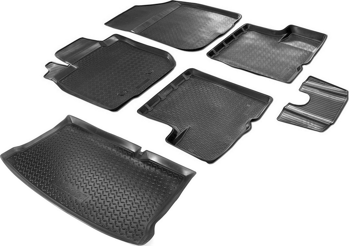 Комплект ковриков салона и багажника Rival для Renault Sandero II 2014-2018 2018-н.в., полиуретан, с крепежом, с перемычкой, 6 шт. K14703003-2 комплект ковриков салона и багажника rival для renault sandero 2009 2014 2014 н в полиуретан k14703003 2