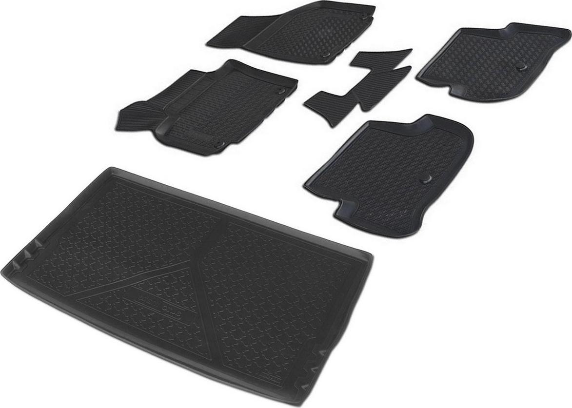 Комплект ковриков салона и багажника Rival для Skoda Yeti 5-дв. 2009-2018, полиуретан, с крепежом, с перемычкой, 6 шт. K15103001-2 комплект ковриков салона и багажника rival для skoda yeti 2009 н в полиуретан k15103001 2