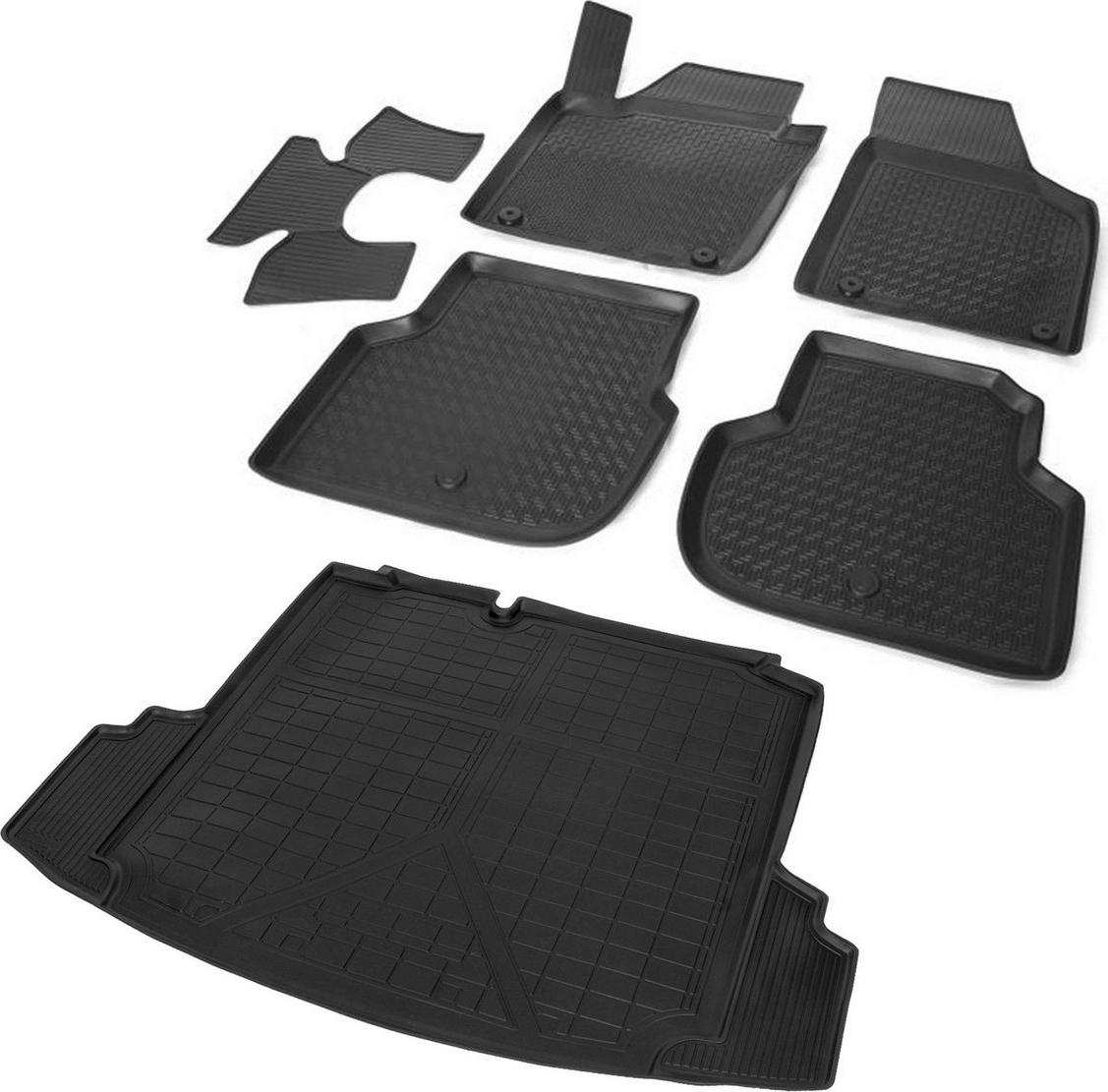 Комплект ковриков салона и багажника Rival для Volkswagen Jetta VI 2010-2015 2015-н.в., полиуретан, с крепежом, с перемычкой, 6 шт. K15802001-2 комплект ковриков салона и багажника rival для volkswagen jetta 2010 н в полиуретан k15802001 2