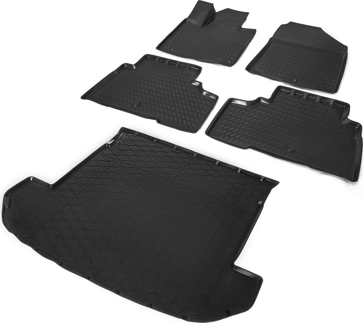 Комплект ковриков салона и багажника Rival для Kia Sorento Prime III 5-дв. (7 мест, сложенный 3 ряд) 2015-2017 2017-н.в., полиуретан, без крепежа, 5 шт. K12804002-4 коврики салона rival для toyota rav4 2013 2015 2015 н в резина 65706001