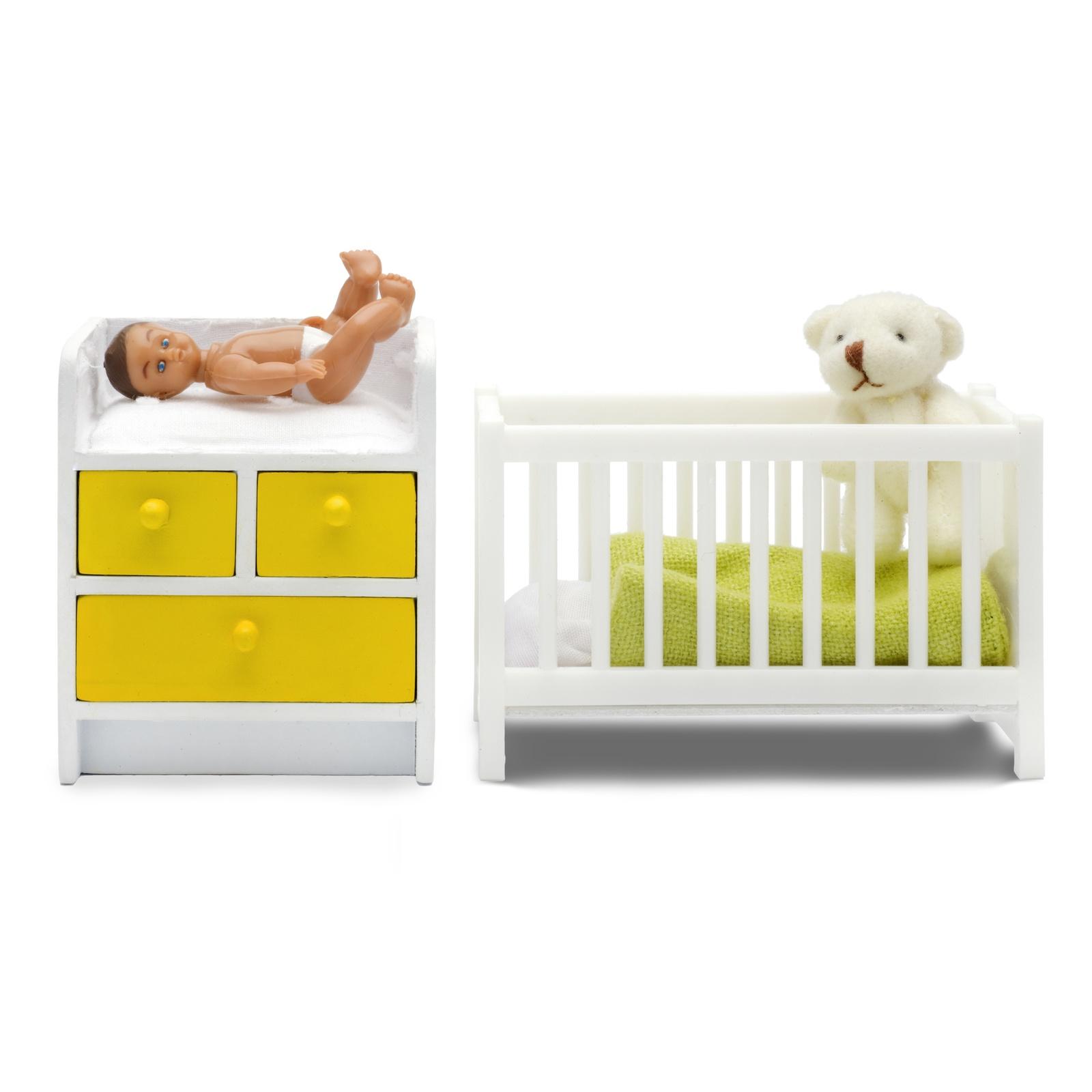 Кукольная мебель PAREMO Кровать с пеленальным комодом кукольная мебель lundby смоланд обеденный уголок lb 60209600