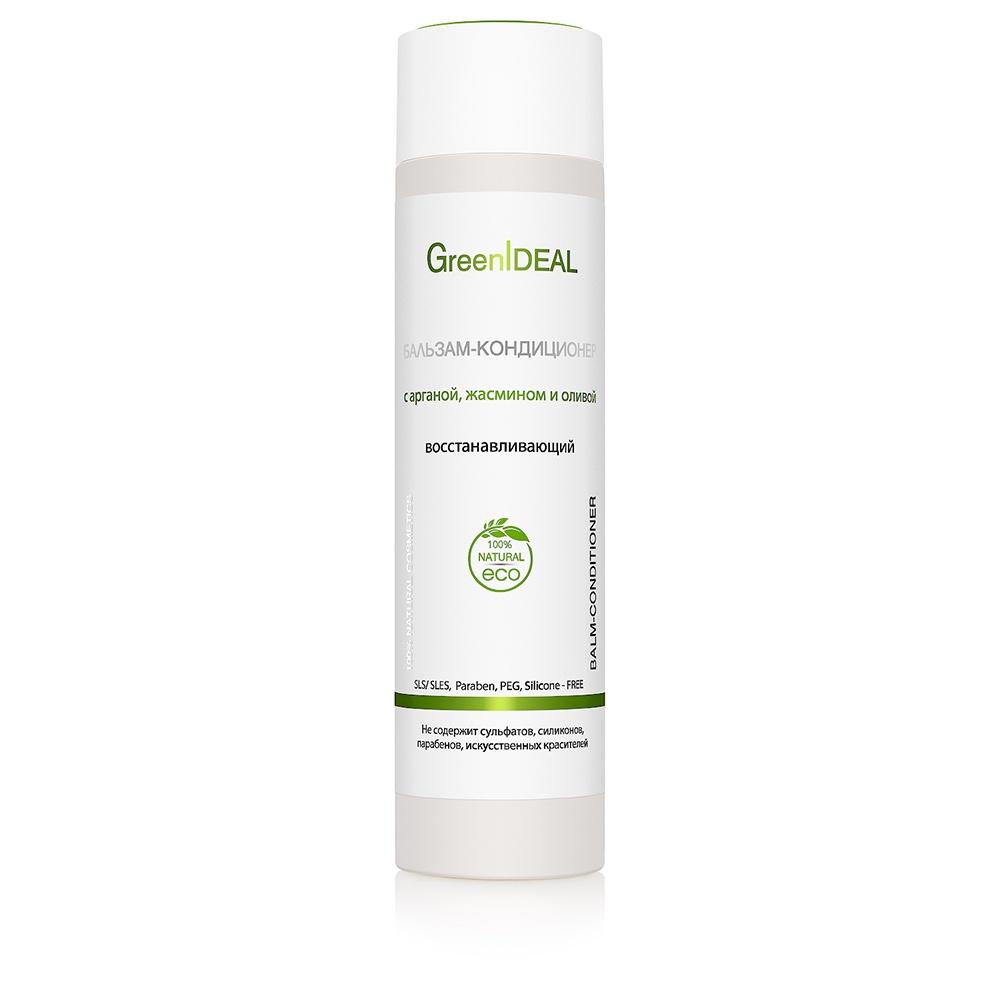 Бальзам для волос GreenIdeal Бальзам-кондиционер восстанавливающий с арганой, жасмином и оливой (натуральный, бессульфатный) greenideal бальзам кондиционер укрепляющий для роста и объема волос cо злаками мумие и хмелем 250 мл