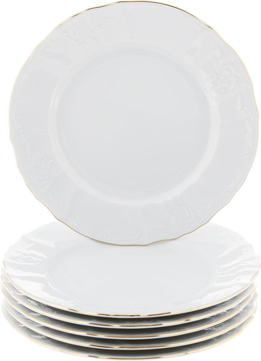 """Тарелка десертная Thun """"Отводка золото"""", диаметр 19 см, 6 шт"""