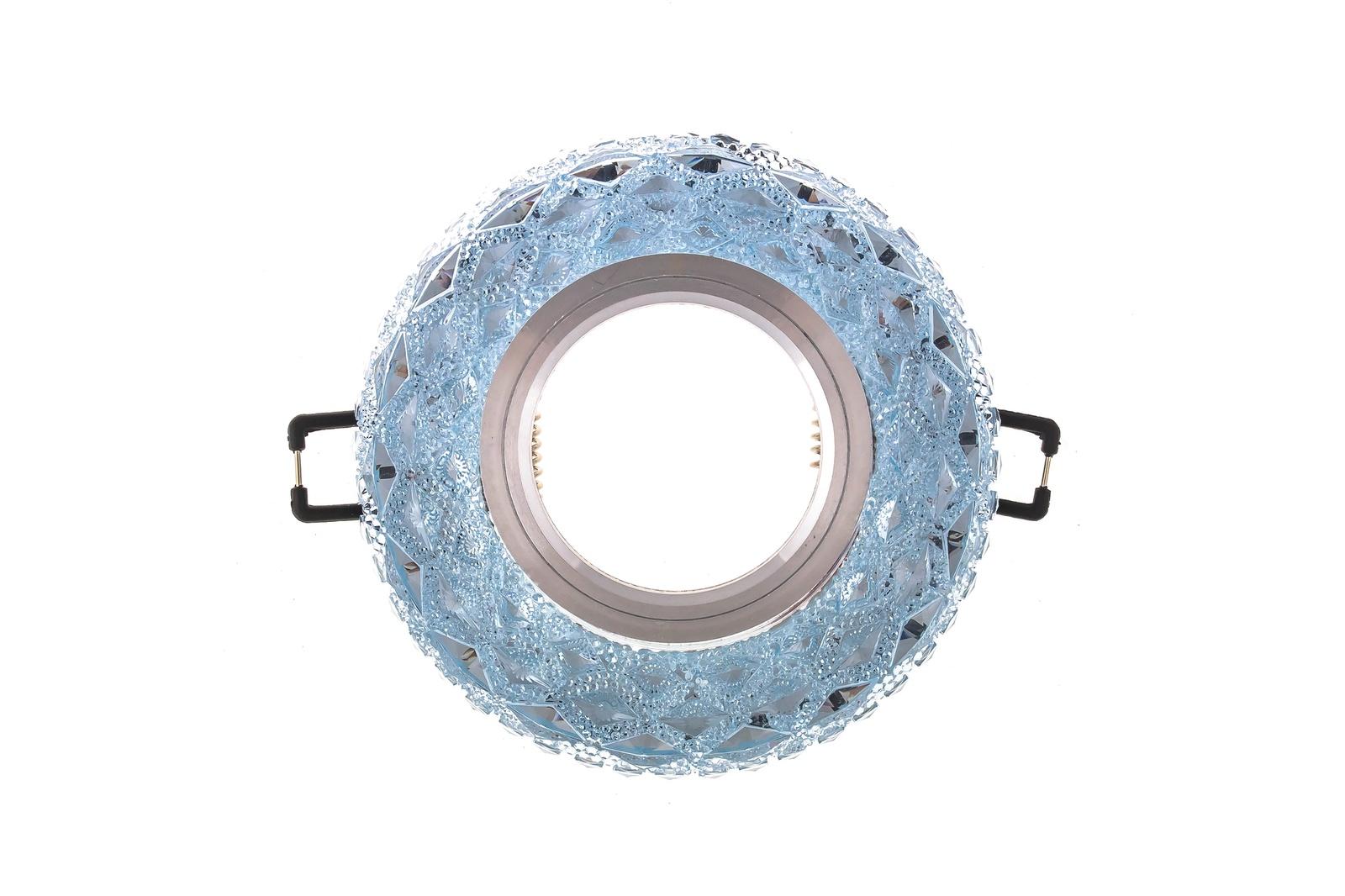 Встраиваемый светильник Ambrella light S288BLS288BLПотолочные точечные светильники - хорошая замена традиционному освещению. С их помощью можно сделать акценты на определенных зонах в помещении или создать романтическую обстановку. Точечные светодиодные светильники Ambrella light могут стать настоящим украшением — важно лишь правильно их выбрать в соответствии с задачами помещения. Данный светильник представляет собой яркий пример современного дизайна. Круглая кромка имеет дополнительный источник света в виде LED ленты. Кромка в сочетании с LED лентой образуют оригинальные блики на потолке. Дизайн позволяет сочетать модель как с классическими, так и с современными интерьерными решениями. Рекомендуемая лампа LED/галогенная MR16 GU5.3 12V/220V max 50W.