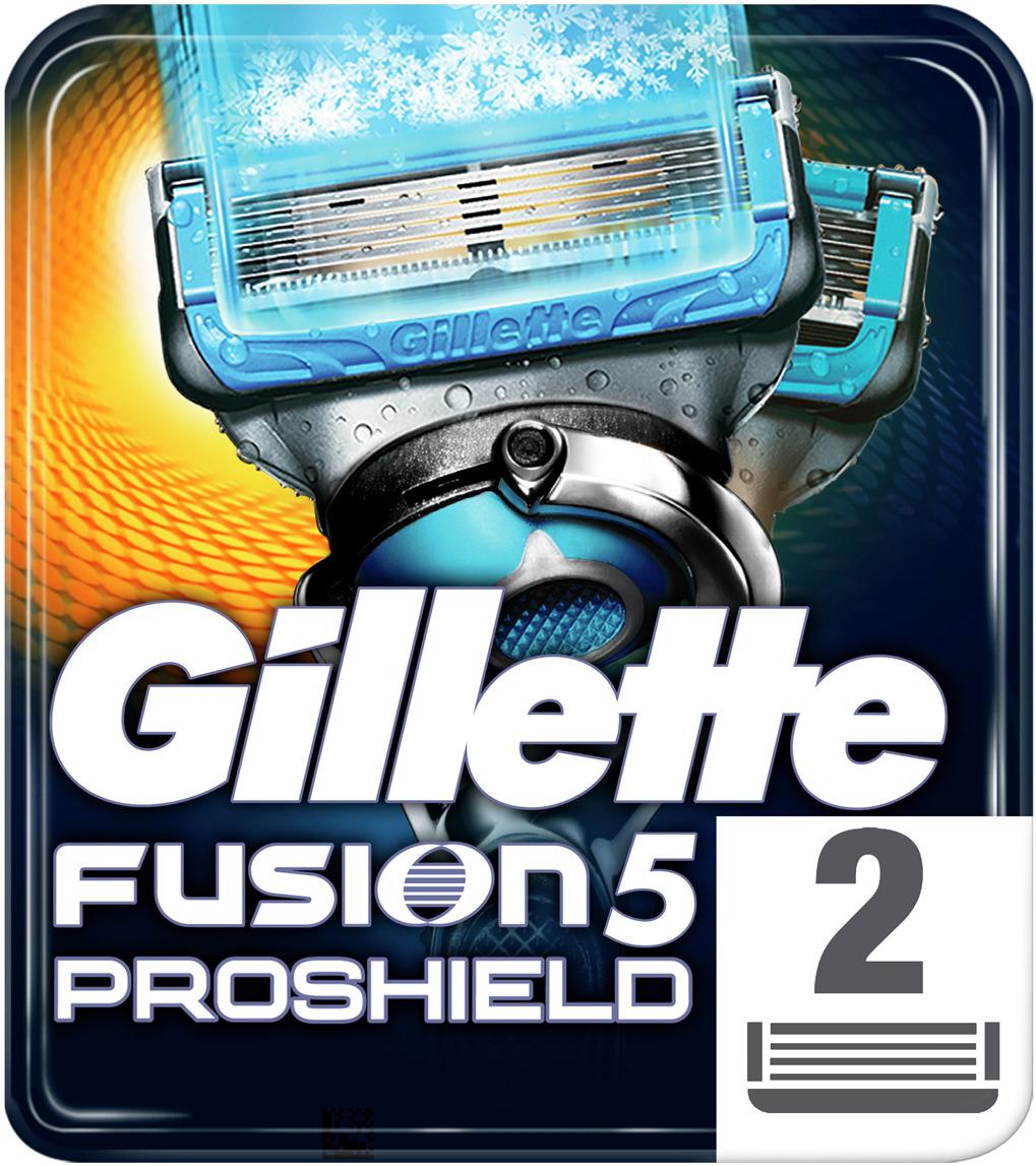 купить Сменные Кассеты Gillette Fusion5 ProShield Chill с охлаждающей технологией, 2 шт по цене 852 рублей