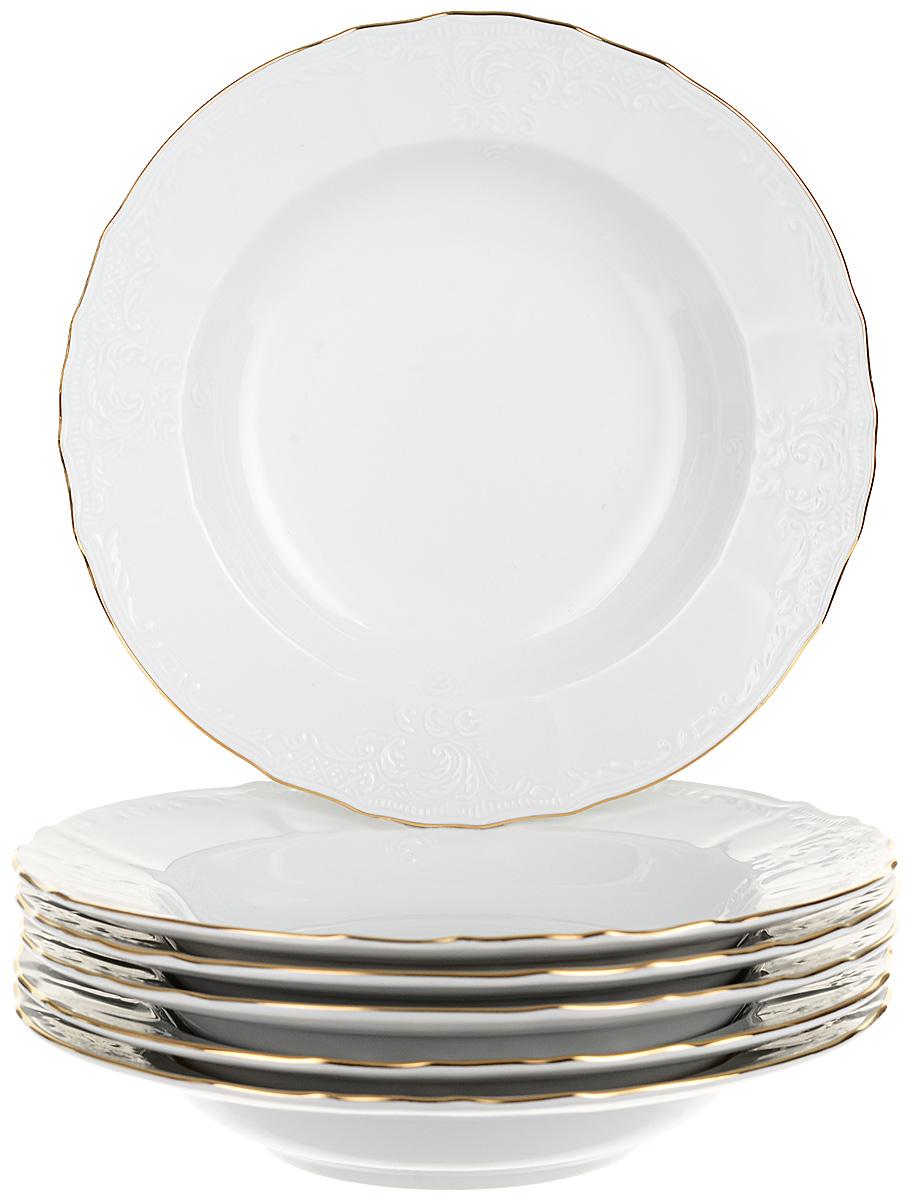 """Тарелка глубокая Thun """"Отводка золото"""", диаметр 23 см, 6 шт"""