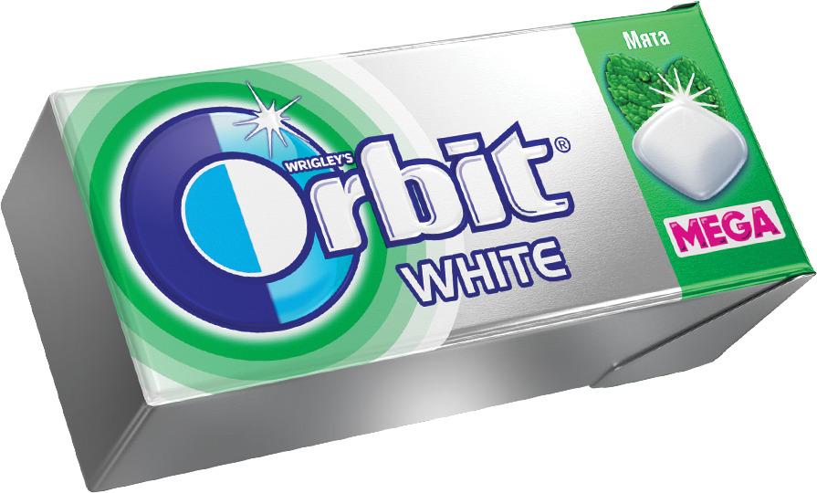 Жевательная резинка Orbit Mega White Мята, 16 г жевательная резинка конфитрейд робокар поли со вкусом мяты 24 шт по 14 г